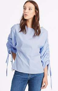 Marks and spencer pure cotton slash neck ruched sleeve blouse Was £27.50 now £4.89 (free c&c)