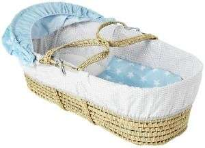 Clair De Lune light blue stars moses basket £17.99 delivered sold by eBay / Argos clearance