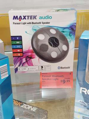In case we get a summer. Maxtek audio parasol light and Bluetooth speaker from £14.99 to £9.99 in store at Aldi
