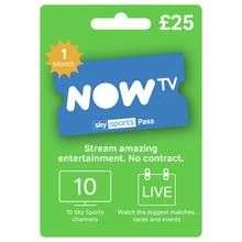 NOW TV SPORTS 1 MONTH PASS £25 IN ARGOS RESERVE AND COLLECT ALSO WEBSITE AVAILABLE