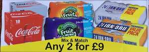 Fruit Shoot/Irn Bru x24 & Diet/Coca Cola x18 - Any 2 for £9 @ Farmfoods