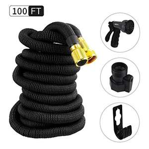 Newest Polyester Fabric Expandable Garden Hose Pipe with Double Latex Core Metal Fitting Professional 8 Function Spray Head 100ft - £19.69 Prime / £24.44 non Prime (Or use buy one, save 15% promo) - Sold by Hemi-happy and Fulfilled by Amazon