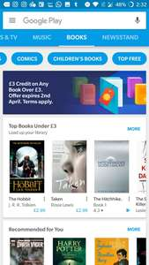 Google Play Books £3 credit for any book over £3 - Account specific