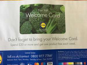 Free Lidl 'Welcome Card' - Free gift every week with spend (£20+)