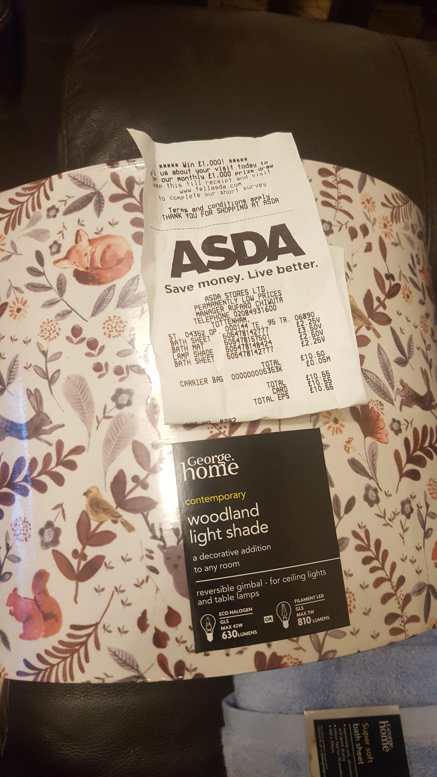 Asda Tottenham Woodland Light shade £2.50 from £10.00