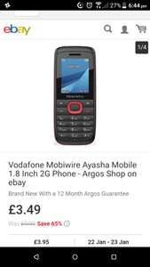 Vodafone mobile from Argos ebay outlet £3.49 (+£3.95 del)