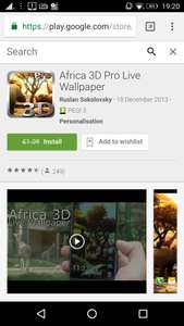 Africa 3D Pro Live Wallpaper, from £1.09, but currently free (for 2 day), at Google Play