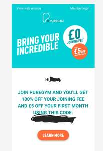 Pure Gym Free Joining fee and £5 off