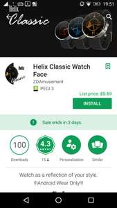 Helix Classic Watch Face, from £0.59, but currently free (for 3 day), at Google Play