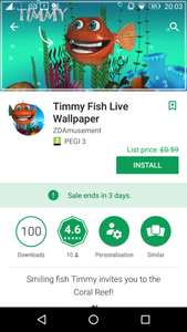 Timmy Fish Live Wallpaper, from £0.59, but currently free (for 3 day), at Google Play