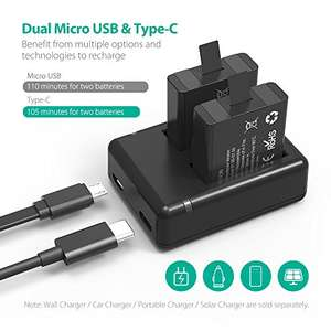 RAVPower GoPro Battery HERO5 Black / HERO6 Black Camera Charger Set (2-Pack Replacement Battery Kit, Dual Battery Charger with Micro USB & Type-C Inputs, 100% Compatible with Original) £13 Sold by Sunvalleytek-UK and Fulfilled by Amazon