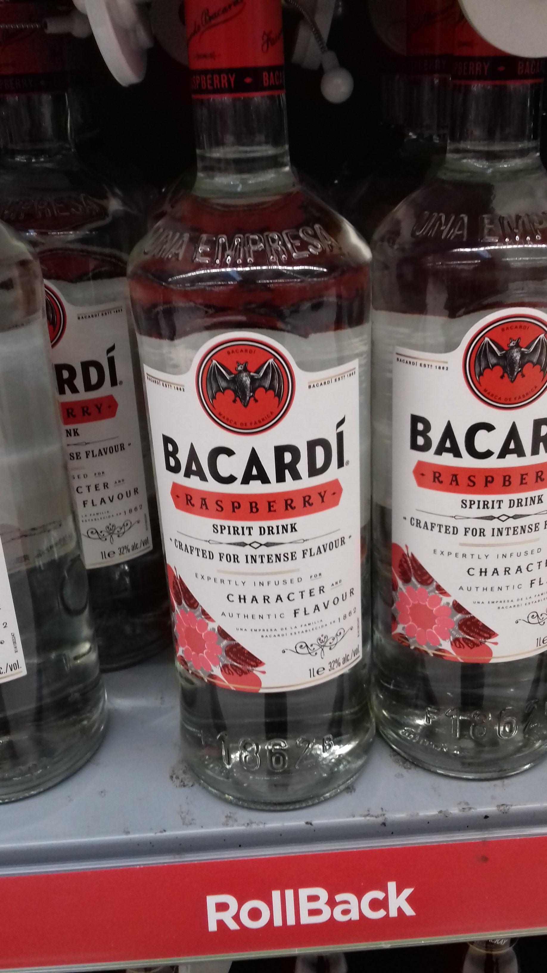 Bacardi Raspberry £16 a litre at Asda