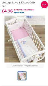 Babiesrus Love & Kisses crib set £4.96 from £14.96 C&C