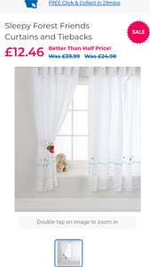 Sleepy Forest Friends Curtains and Tiebacks - Babiesrus £12.46 from £39.99