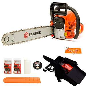 "62CC 20"" PETROL CHAINSAW + 2 x CHAINS - ASSISTED START+ extras £89.99 Sold by Parker Products Limited and Fulfilled by Amazon."