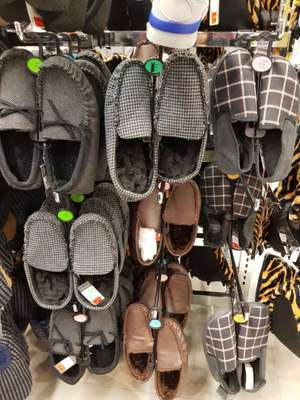 Selection of men's slippers marked down to £1 at Primark, Manchester