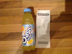 Oasis Zero Citrus Punch 500ml bottle 39p each or 3 for £1 @ Heron in store.