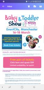 200 free pair of tickets for The Baby & Toddler Show at EventCity, Manchester, on 16-18 March from Emma's Diary worth £24