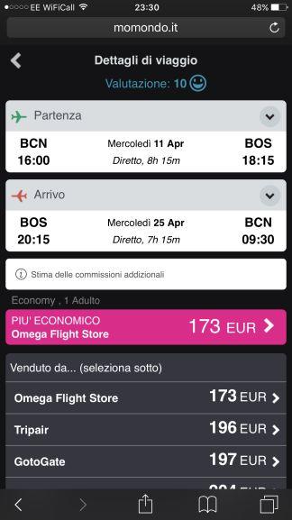 London to Barcelona & Boston return flights £186 via SkyScanner