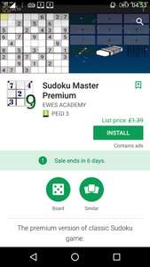 Sudoku Master Premium, from £1.39p, but currently free (for 6 day), at Google Play