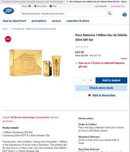 Paco Rabanne 1 Million Eau de Toilette 50ml Gift Set £23.50 - Boots - free click and collect