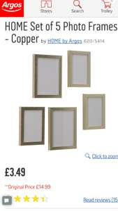 Argos 5 photo frames - copper - £3.49 was £14.99