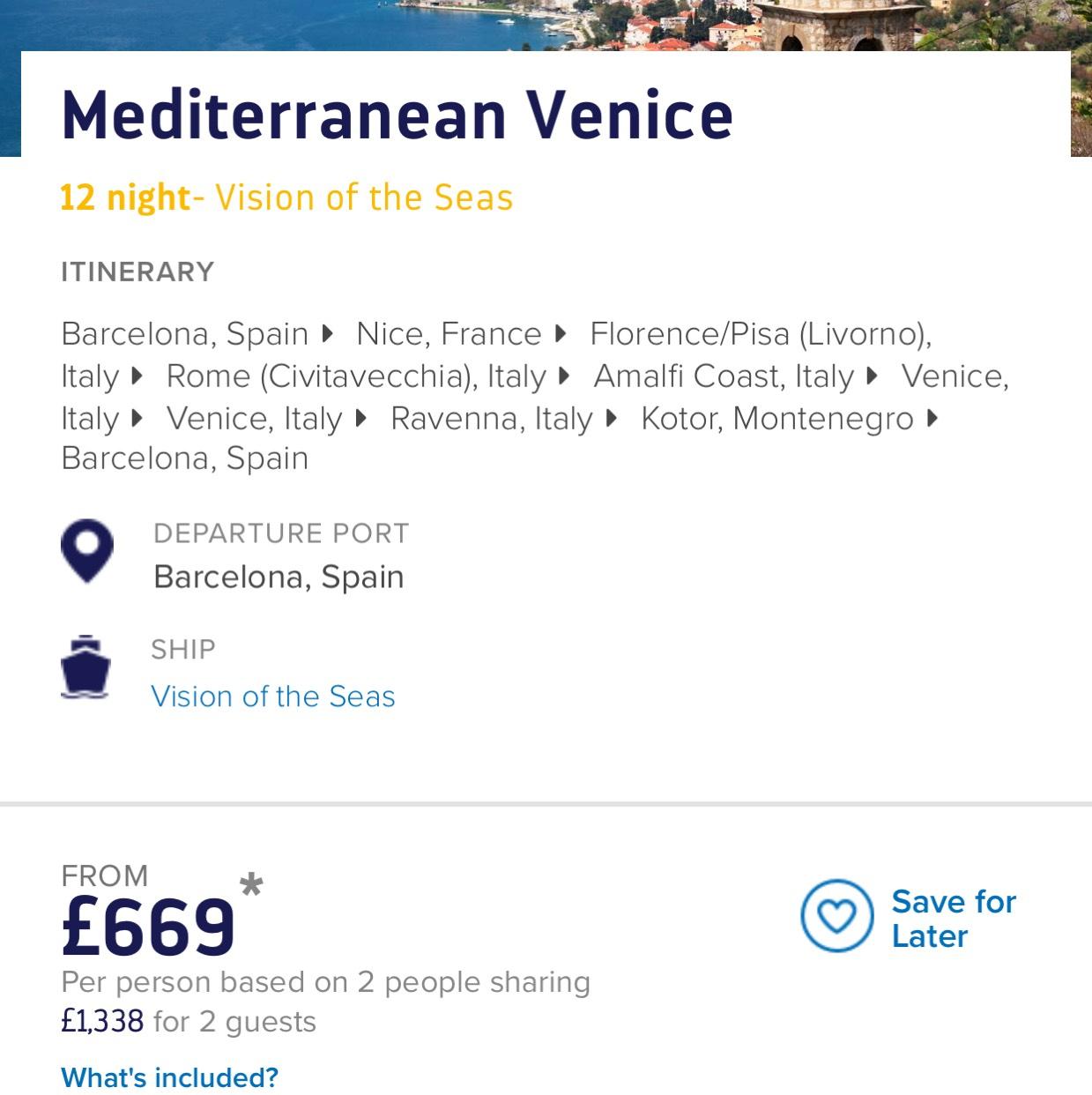 Mediterranean Venice 12 night cruise , Royal Caribbean, 23rd September inside cabin £669