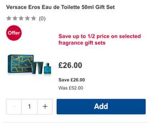 Versace EROS 50ml gift set £26 at Boots