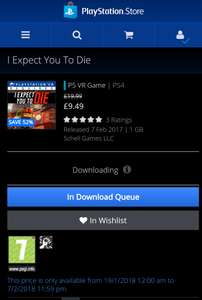 PSVR I Expect You To Die £9.49 @ PSN