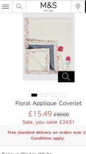 M&S Floral Applique Coverlet £15.49 - free c&c