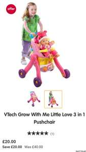 Vtech grow with me little love 3-in-1 pushchair £20 Half Price @ Boots