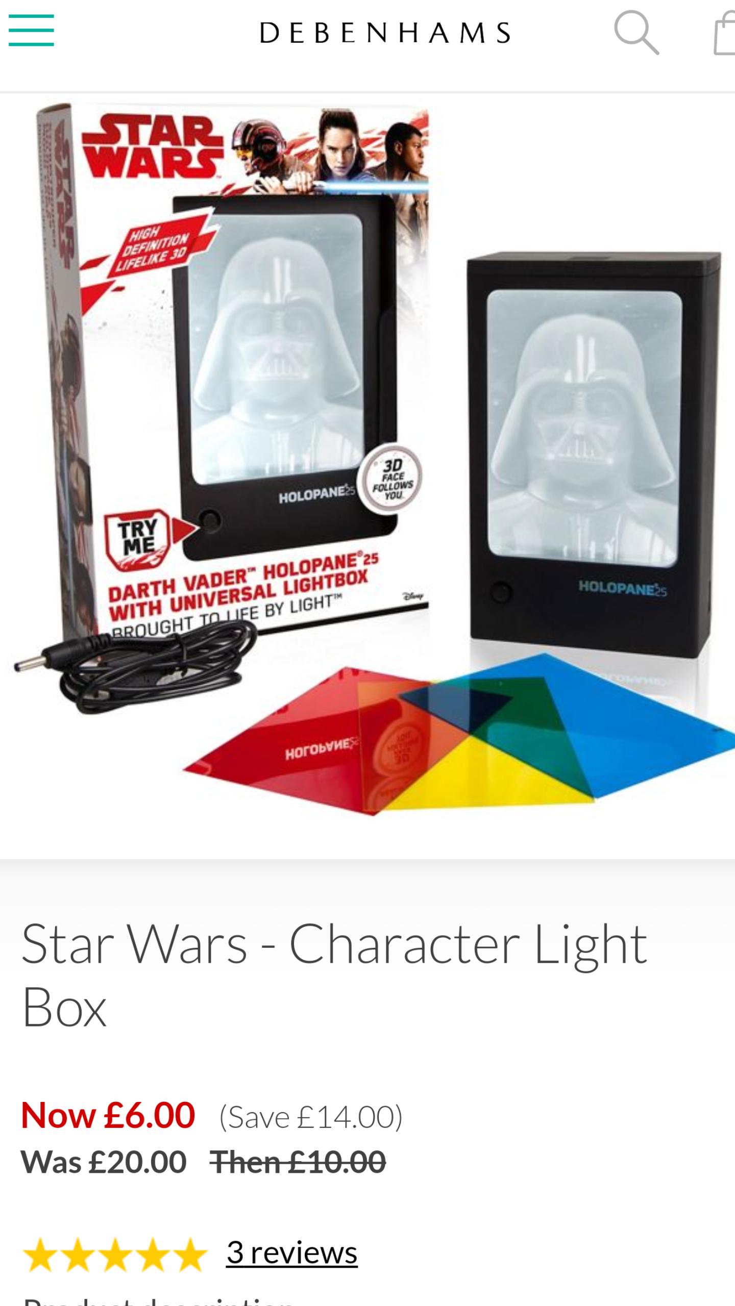 Star Wars-Character Light Box - Debenhams £6 Del w/code