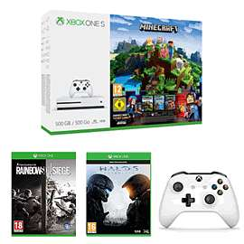 Xbox One S 500GB Minecraft Complete Adventure Bundle + Rainbow 6 Siege Download + Halo 5 + Xbox One White Wireless Controller + 3 months of Xbox Live Gold £249.99 @ Game