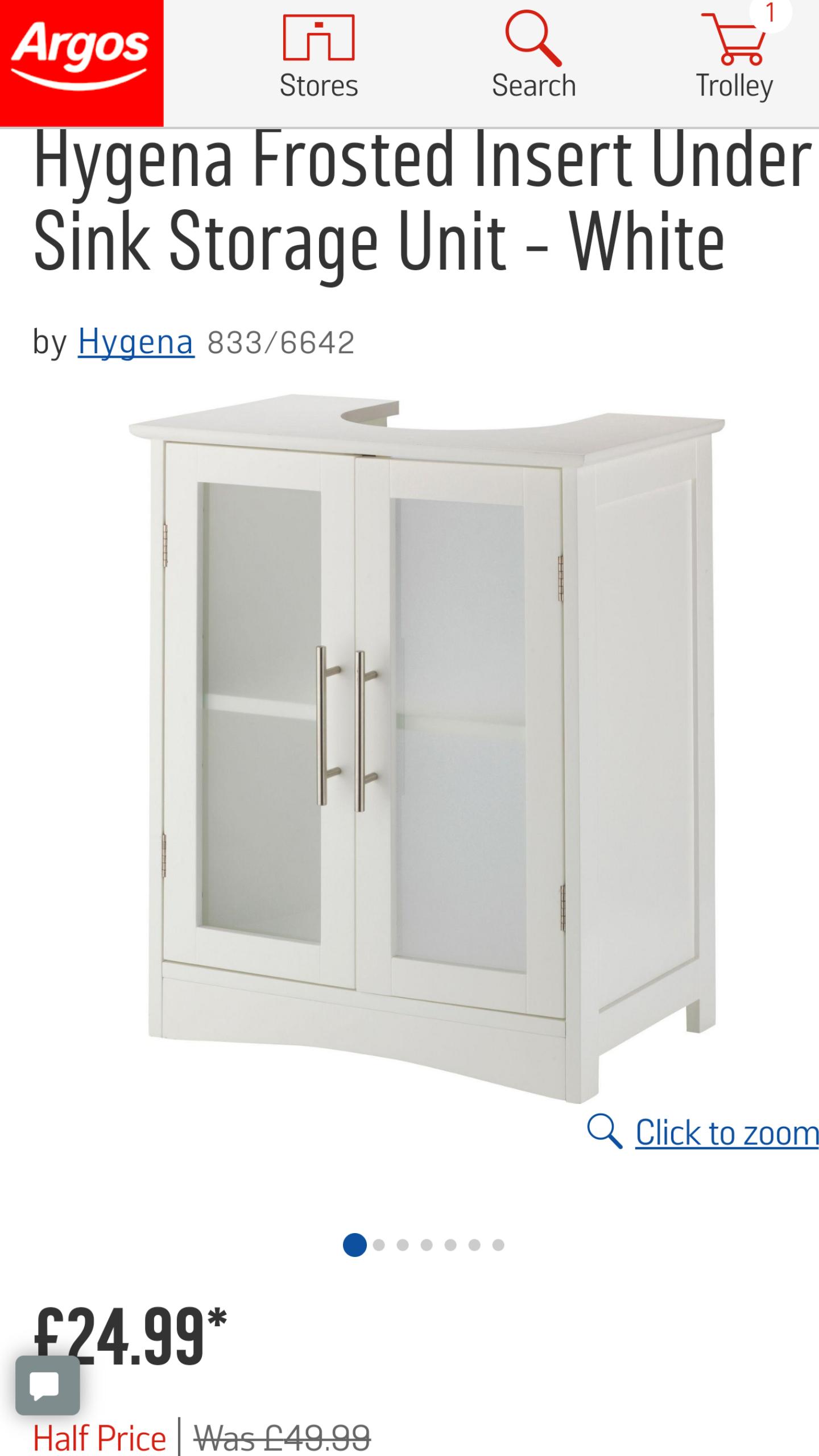 Argos - Hygena Frosted Insert Under Sink Storage Unit - White - £24.99