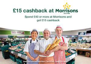 £15 cashback when you spend £40 @ Morrisons via TopCashback (New Members)