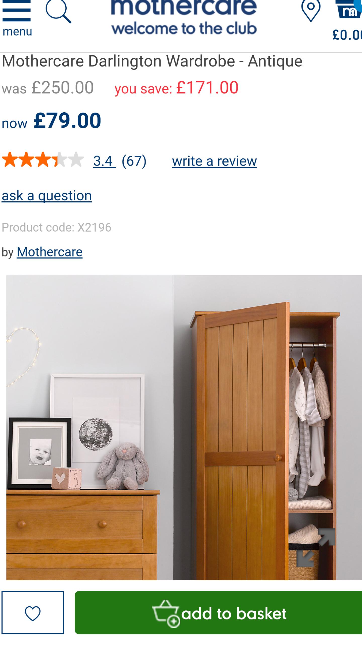 Mothercare Darlington Single Wardrobe - Antique £79.00 was £250.00