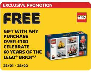 Free 60th anniversary of the brick Lego set when spending £100 in store or online from January 28th