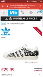 adidas Originals Superstar 80s Trainers at MandMDirect for £29.99 + £4.49 delivery £34.48