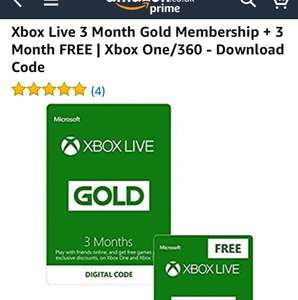 Xbox Live 3 Month Gold Membership + 3 Month FREE | Xbox One/360 – Download Code @Amazon – £14.99