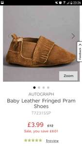 M&S - Baby Leather Fringed Pram Shoes - £3.99 3-6 months