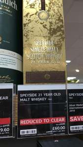 Speyside 21 yr old single malt 70cl £60 delivered or in store at M&S