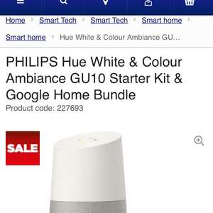 Hue gu10 with google home assist only £169 only offer at Currys discount offer