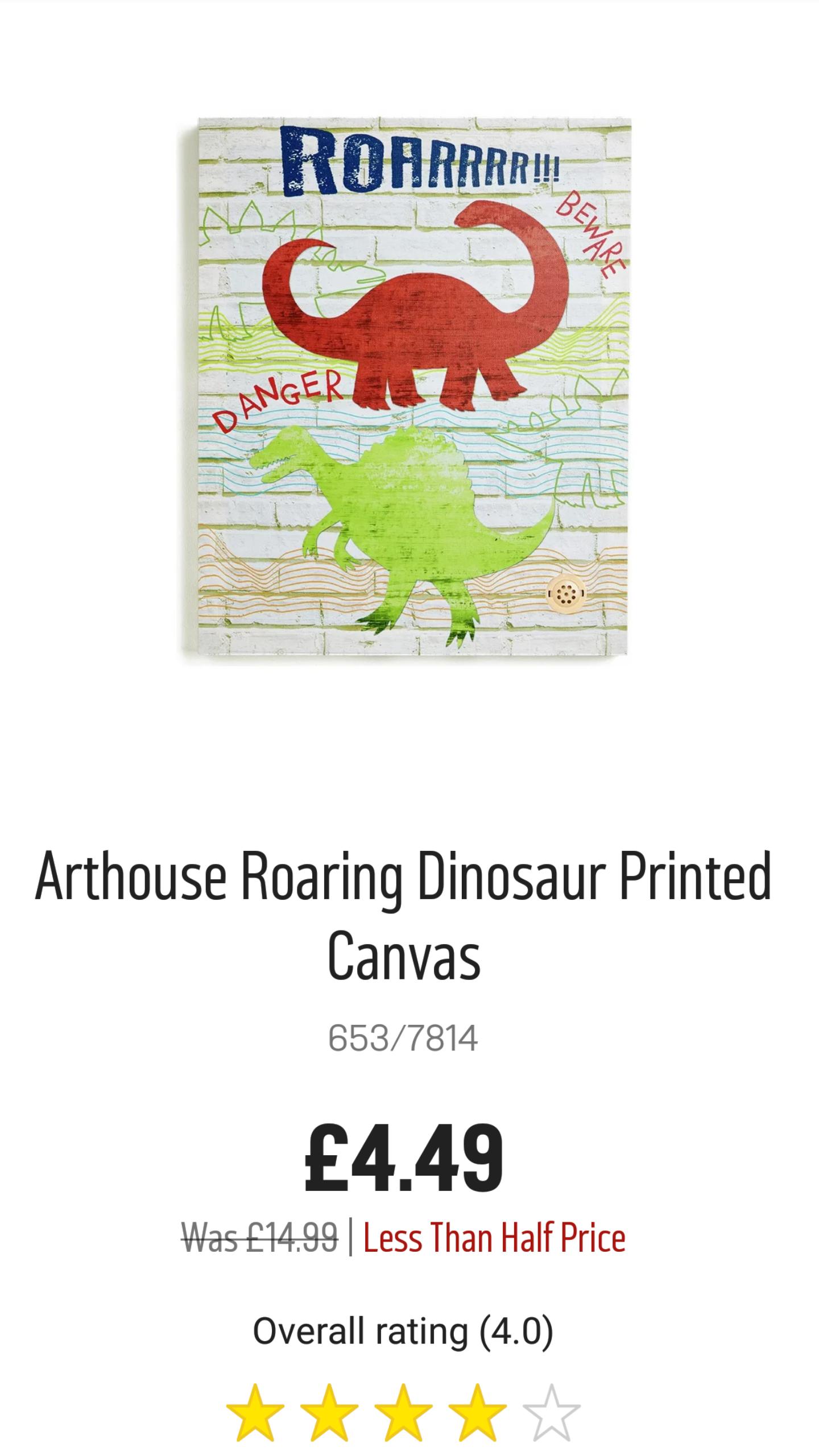 Arthouse Roaring Dinosaur Printed Canvas - Argos - £4.49