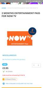 2 MONTHS ENTERTAINMENT PASS FOR NOW TV at The Game Collection for £3.95