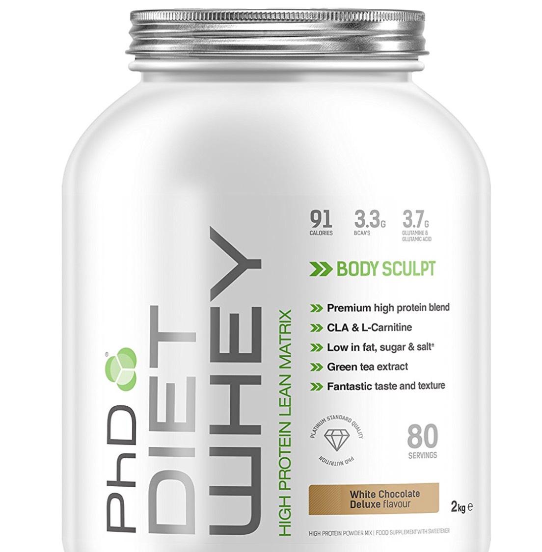 PhD Nutrition Diet Whey Protein Powder - 2 kg, White Chocolate £16.98 prime / £21.73 non prime @ Amazon