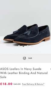 ASOS Loafers In Navy Suede With Leather Binding And Natural Sole £18 / £21 delivered