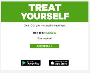 Groupon: Get £10 off your next local or travel deal.