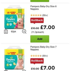 Pampers baby dry various sizes e.g New Baby Size 1 Nappies 96pk £7 @ Asda