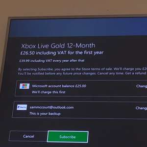 Xbox Live Gold 12-month membership currently £26.50 (usually £40)