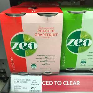 Zeo lightly carbonated drinks 25p, 4 x 250ml  in-store @ Co-op